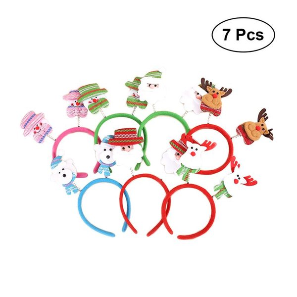7 pezzi di Natale Fasce Cute Cartoon Santa Snowman Deer Bear Xmas Decor Head Hoop regalo Hairband per bambini Adulti bambini