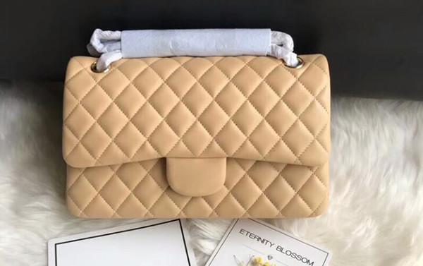 DHL Free A01112 25,5 cm Pelle di agnello trapuntata classica Flap Handbag, Hardware in metallo color oro, Vieni con Sacchetto di polvere + Scatola + Ricevuta + Nastro