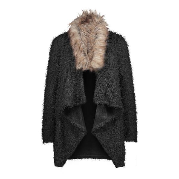 HENGSONG Fashion Long-Sleeve Overcoat Women's Autumn Cardigan Plush Coat Trench Women Soft Fur Collar Coat Windbreaker 745889