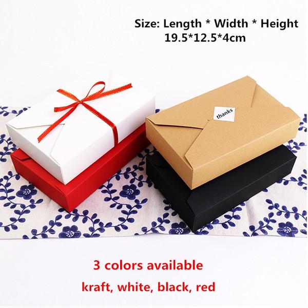20 pcs-19.5 * 12.5 * 4 cm Kraft Boîte De Papier Noir Blanc Rouge Gâteau Cookie Boîtes De Bonbons pour Anniversaire De Mariage Cadeau Emballage De Cadeau