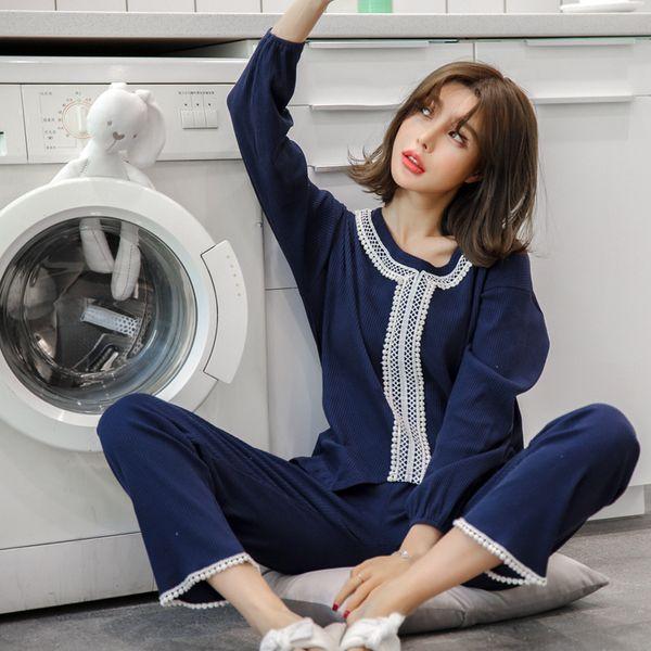JRMISSLI Outono 100% Algodão Laço de Manga Comprida Mulheres palácio Pijamas Set Lazer Confortável Macio Plus Size Nightwear