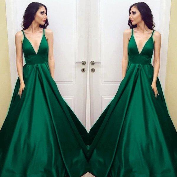 Prom Dresses For Plus Size Women Emerald Green Empire Special Occasion Dresses V Neck Elegant Long Prom Dresses 2018 SP347