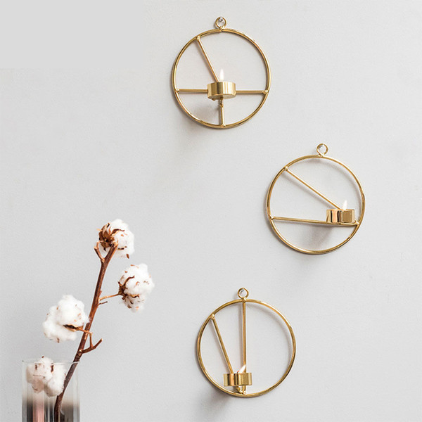 Wholesale 1 PCS Nordic Style Geometric Gold Metal Candlestick Wall Hanging Circle Candle Holder Home Decor Free Shipping