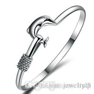 High quality low price wholesale 925 sterling silver 2017 New popular dolphin Bracelet Gift Free ship