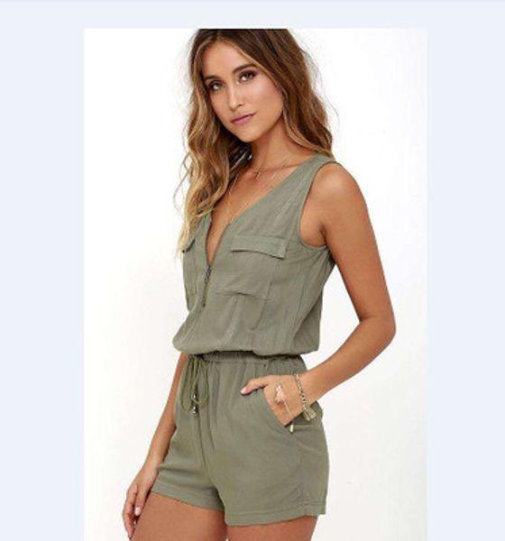 Explosions de poitrine de mode d'été Zips couture couture sans manches jumpsuit taille élastique jumpsuit couleur