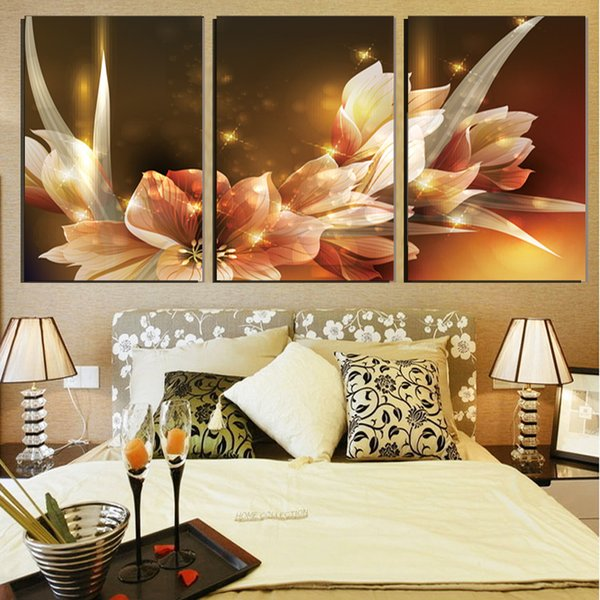 3 Pcs Luxury Golden Flowers Posters And Prints Home Decor Wall Art Picture Canvas Painting Cuadros Decocation No Frame