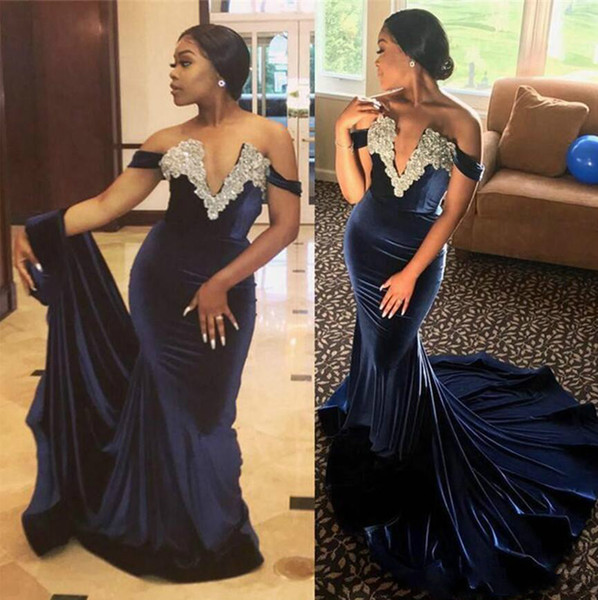 New Style Navy Blue Beaded Neck Plugging Mermaid Long Evening Dresses Off The Shoulder Sexy Prom Gown Fishtail Train Formal Party Black Girl