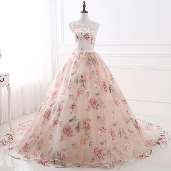 2018 new elegant scoop long prom dress appliques beads evening party gowns floral print pattern Vestido de Festa long formal dress