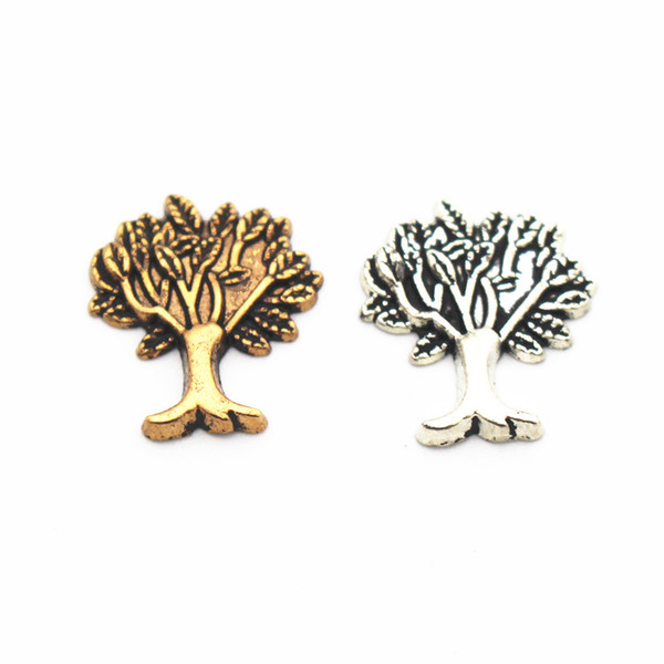 Mixs 10pcs/lot Metal Family Tree Floating Charms For Living Glass Memory Floating Lockets Pendant Necklace DIY Jewelry Making