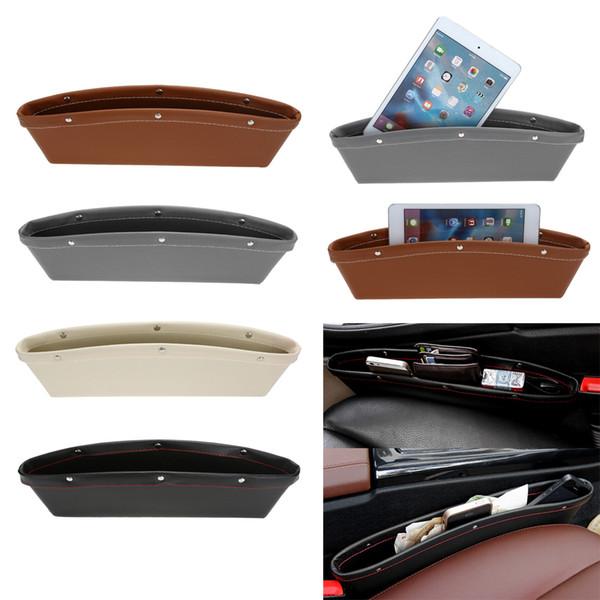Organizador del coche Cuero de la PU Caja del organizador del asiento de coche Caddy Ranura Gap Bolsillo de almacenamiento Caja de guantes Caja de cuero para libros / teléfonos / tarjetas