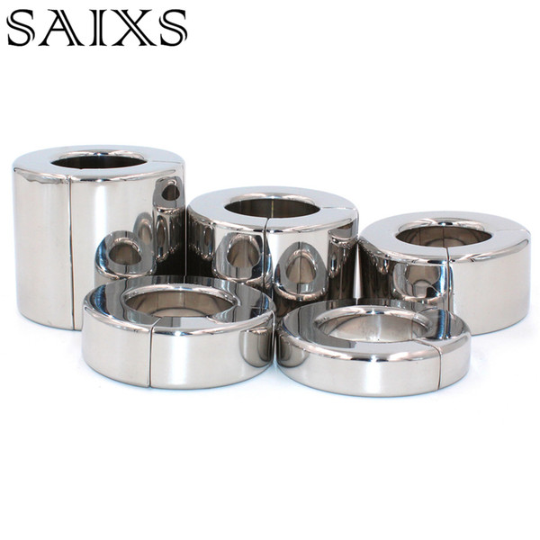 Serrure magnétique en métal Scrotum Pendentif Balle Civière Testis Poids Cock Ring Pénis Retenue En Acier Inoxydable Sex Toys pour Hommes Y1892002