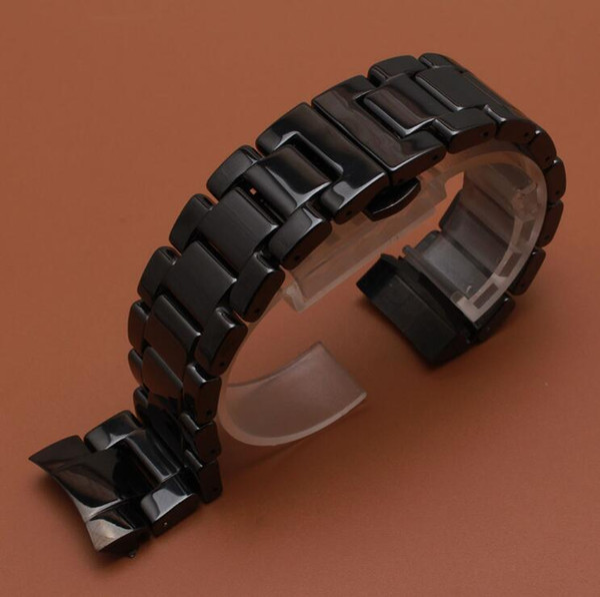 Seramik Watch Band Kayışı katı Bağlantı Bilezik fit dişli s3 erkekler kol saati 22mm cilalı siyah saat kayışı yeni kavisli biter 2017
