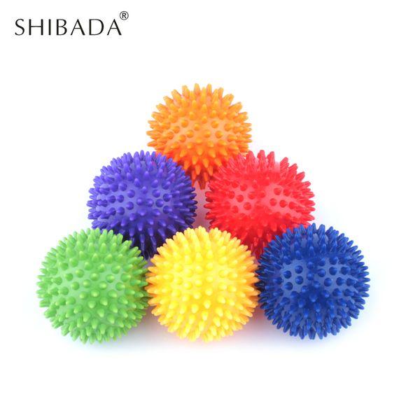 6 Color 7.5cm PVC Spiky Massage Balls Crossfit Foot Muscle Fitness Balls Pain Stress Relief Trigger Point Hedgehog Reflex Ball