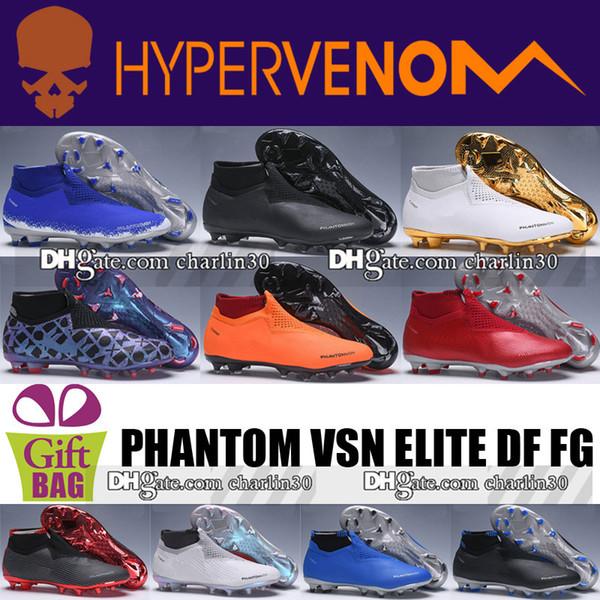 2018 Original Leder Fußball Schuhe Stiefel Herren Phantom VSN Elite DF FG Fußball Stollen Socken Spitzen High Knöchel Phantom VSN FG Fußballschuhe
