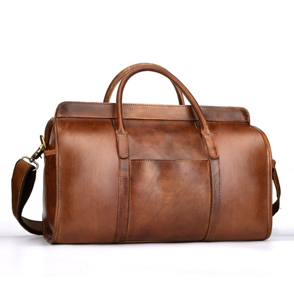Free Shipping Hand Luggage Unisex Travel Bag Carry Packing Men Vintage Bag 2018 Men Duffel Genuine Cow Leather Handbag LY48