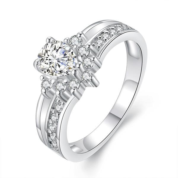 Anelli romantici per le donne imitazione oro bianco intarsio anello diamante analogico bella sposa fidanzamento matrimonio anello gioielli amore