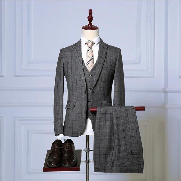 (Jacket+Vest+Pants) 2018 spring Men Suits Fashion grid stripe Men's Slim Fit business wedding Suits men veste homme men s dress suits