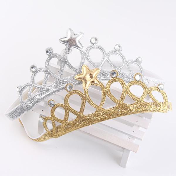Girls crown headband Princess Tiaras Crown Gold Silver Headband Elastic Birthday Gift Photography Props Infant Baby Headband