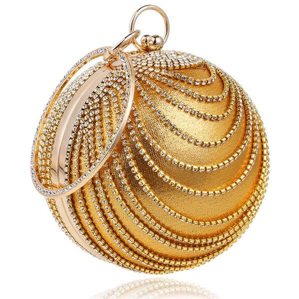 Bolso de embrague de la bola redonda de la mujer Bolso de la tarde del monedero de la manija del anillo del diamante artificial (oro)