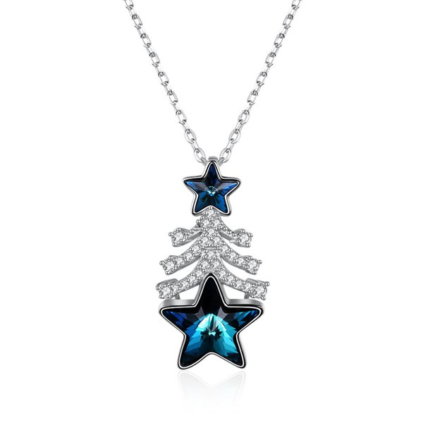 New arrival 925 Sterling Silver Christmas tree Star Crystal Pendant Necklaces fine Jewelry making for Christmas gifts free delivery SVN352
