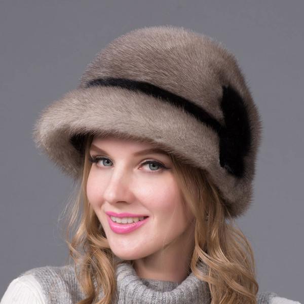 2018 cappello genuino inverno importa davvero pieno cappello di pelliccia fiori modello russo di lusso di fascia alta DHY-51