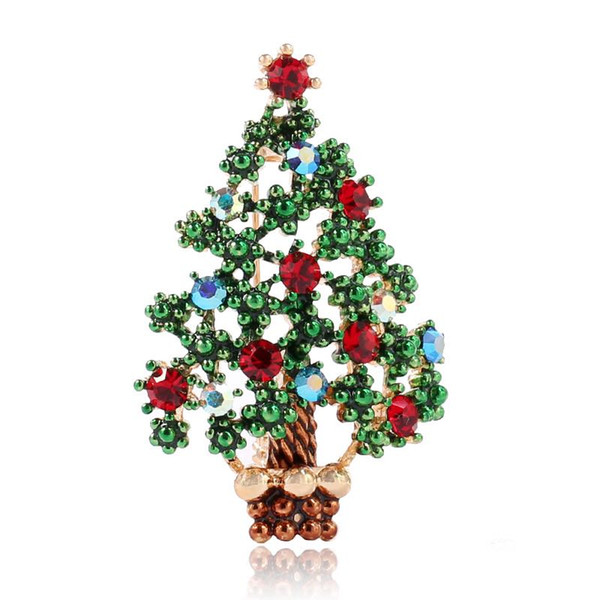 Christmas Gift Beautiful Rhinestone Gold Bell With Bowtie Brooches And Shinny Christmas Tree Pins Fashion Jewelry Wholesale