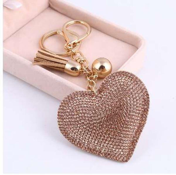 ZOSH Heart Keychain Leather Tassel Gold Key Holder Metal Crystal Key Chain Keyring Charm Bag Auto Pendant Gift Wholesale Price