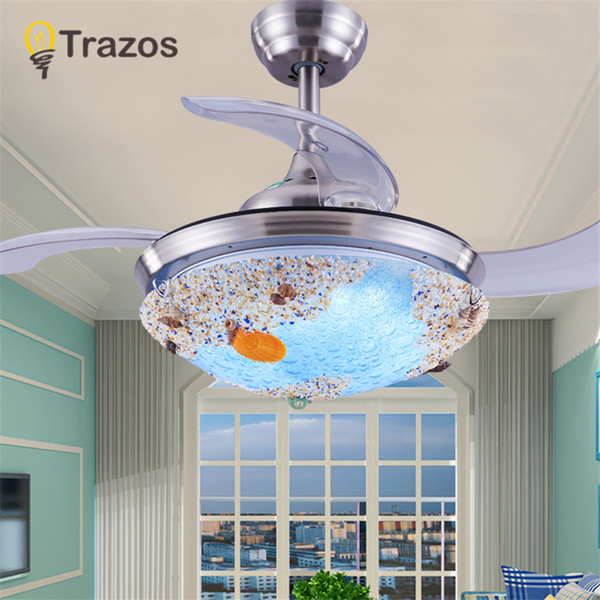 TRAZOS 2018 New Ceiling Fan For Living Room Ventilador de techo Ceiling fans with Lights 36 Inch Tiffany Cooling Fan Fixtures