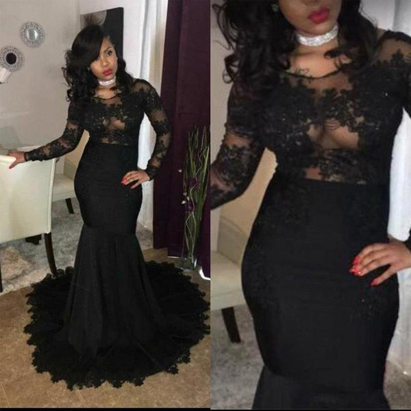 New Sexy Illusion Bodices Black Girl Prom Party Dresses 2018 Mermaid Jewel Neck Lace Appliques Long Sleeves African Evening Gowns Wear