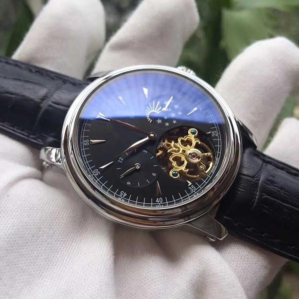 Nuevos relojes para hombre Relojes de marca de lujo Gentalmen Hombre Automático Maquinaria volante reloj de cuero marrón esfera cuadrada Reloj Relogio femenino