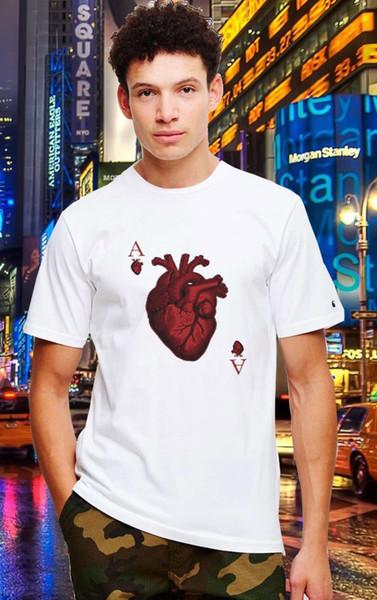 1 camiseta del póker del corazón top banner famosa camisa casual unisex camiseta camisetas del estilo del verano varón Harajuku Top
