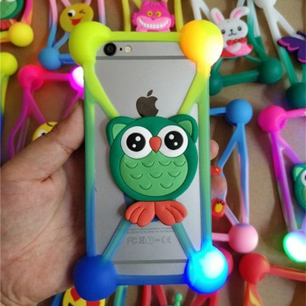 """Universal LED Lamp 3D Cartoon Bumper Case For iphone 6s 7 8 plus Luminous Flicker Silicon Frame Cases Cover for Samsung HTC 3.5""""-5.5"""" Phones"""