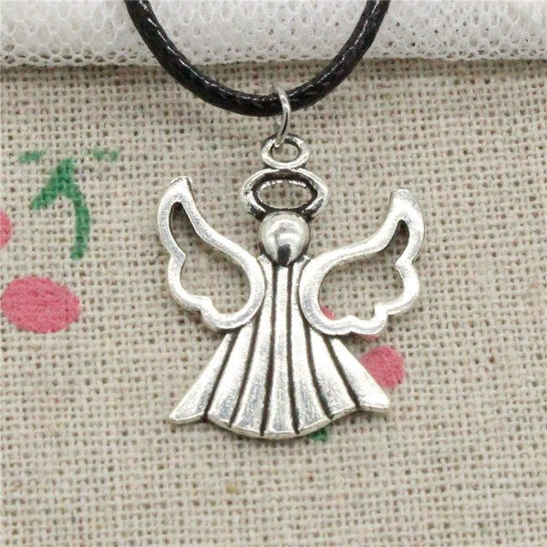 Creative Fashion Antique Silver Pendant praying angel 26*21mm Necklace Choker Charm Black Leather Cord Handmade Jewlery