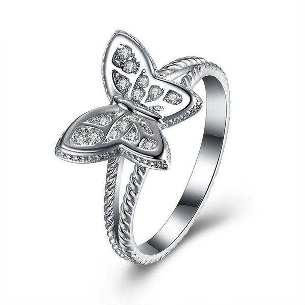 Real Sterling Silver 925 Ring , Luxury Austrian Crystal Ring, Fashion Butterfly Rings Silver Jewelry free shipping R112