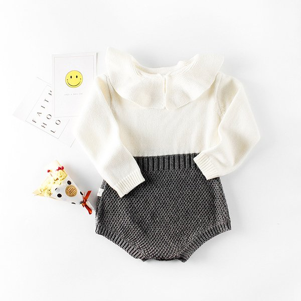 cc4f8d6f1275 2018 Fashion Spring Infant Bodysuits Newborn Knitted Sweater Rompers  Patchwork Baby Girls Clothes Long Sleeve Jumpsuits Lotus Leaf Collar