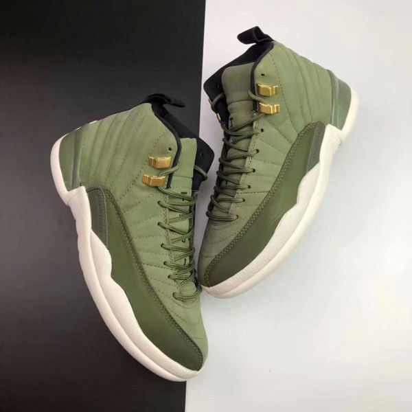 12 Chris Paul Class of 2003 Men Basketball Shoes High Quality 12s CP3 Graduation Pack Olive Canvas Metallic Gold Designer Sneakers With Box