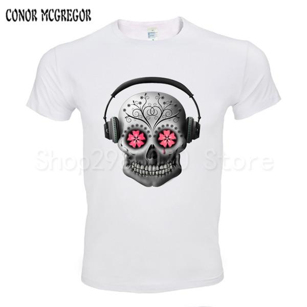 2018 Hombres Camisetas Moda Cráneo con diseño de auriculares Manga corta Casual Tops Hipster Vintage camiseta impresa Camiseta fresca