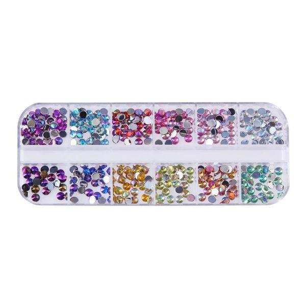 12colors Nail Art Rhinestones 3D Silver 4mm Round Mix Teardrop Heart Sticker Gems Deco Glitters Nail Decoration Craft