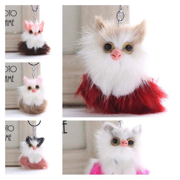 Cute Key Pom Pom Handbag Charm Owl Keychain 5 Styles Faux Rabbit Fox Fur Eagles Keychain Key Ring Womens Bag Car Pendant Accessories