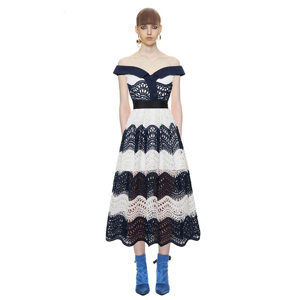 2018 women autumn winter new arrived elegant bodycon formal party runway sexy off shoulder wave guipure midi lace dress
