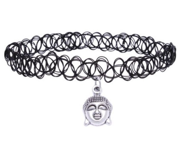 Retro Hippy Elasticity Henna Tibetan Silver Buddha Head Cross Stars Sun Hand Horseshoe India Charm Tattoo Choker Necklace For Women Jewelry