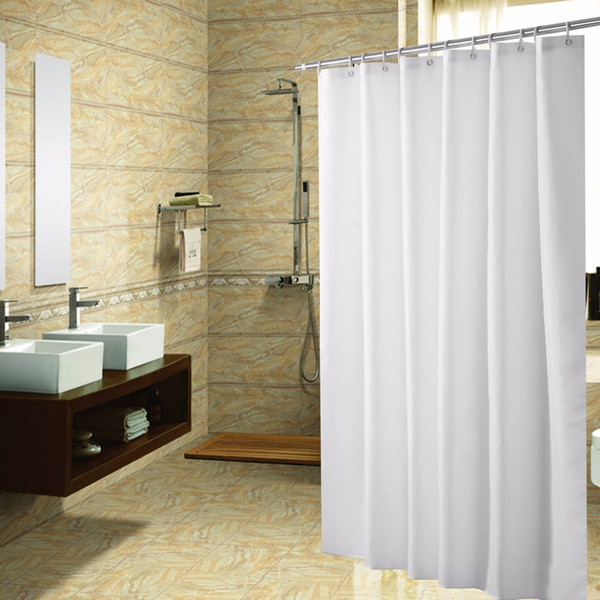 180*180cm Fabric Shower Curtain High Polyester Shower Curtains White Bathroom Waterproof Curtains With Plastic Hooks &20