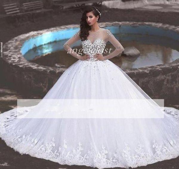 2018 Arabie Saoudite robes de mariée bijou manches longues illusion corsage train train appliques cristal perlé longue chapelle jardin robes de mariée
