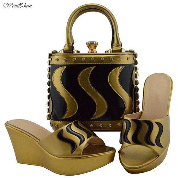 African Shoes And Bag Set For Party Gold Mixed Black Latest Fashion Italian Matching Wedges Shoe And Bag Set 38-42 B810-23