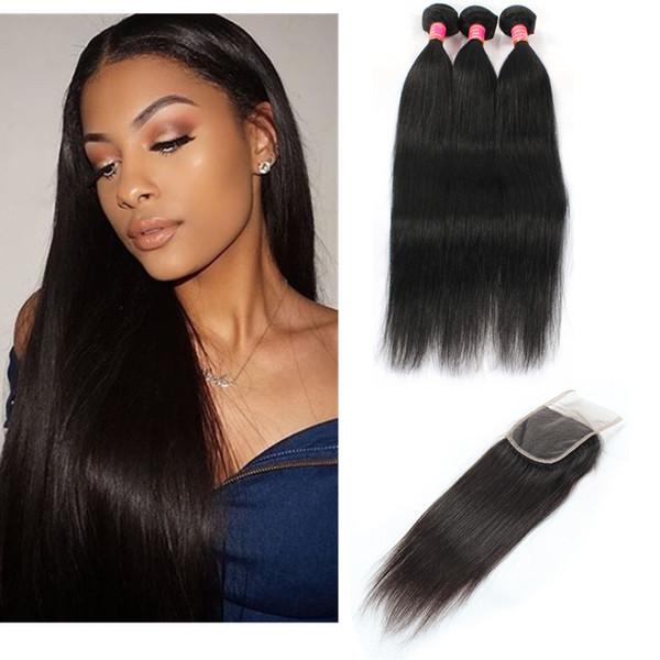 Fasci di capelli lisci brasiliani con chiusura tessuto capelli vergini brasiliani fasci di capelli umani con chiusura