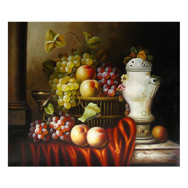 Oil Painting Prints on Canvas Wall Art Picture for Living Room Home Decorations Unframed Hand-painted oil painting wine fruit SHD4-025