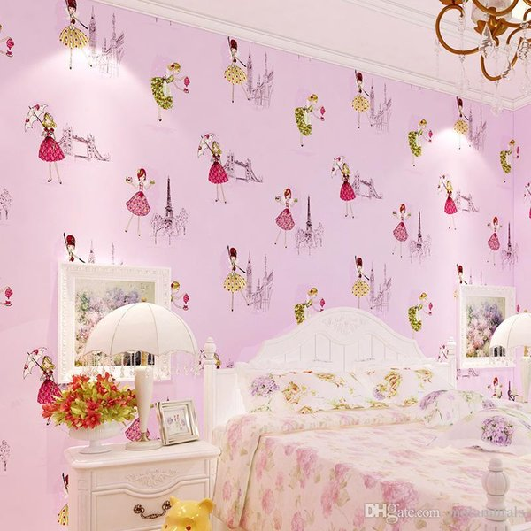 10M Cartoon Children Room Non-woven Wallpaper For Kids Room 3D Ballet Sweet Girl Princess Room Bedroom Wallpapers Roll Pink