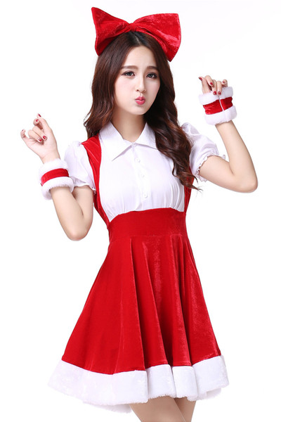 Christmas Lovely Sweet Santa Claus Sexy Dress Female Christmas Party Girls Red Stage Dress Halloween Costume Performance Clothing