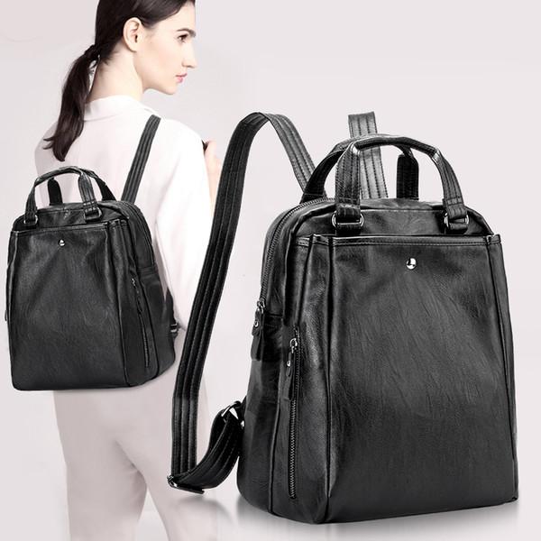 100% Genuine leather Women Backpacks leather Backpacks student bags For Teenagers  Girls Female Travel Back 5256ec2b02823