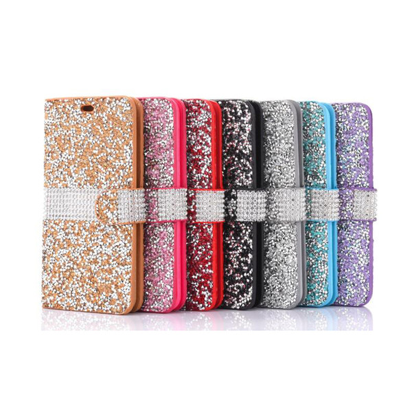 Pour iPhone 8 Galaxy ON5 Portefeuille Diamond Case iPhone 6 Case LG K7 Stylo Bling Bling Case En Cuir PU Fente Pour Carte Opp Sac